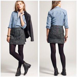 J Crew | Moss Green Tweed Wool Mini Skirt Size 0